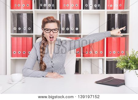 Angry Business Woman Boss Pointing Out. Dismissal Concept