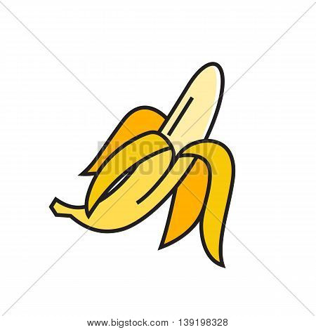 Illustration of banana. Fruit, food, peeling, nutrition. Food concept. Can be used for topics like food, nutrition, fruit
