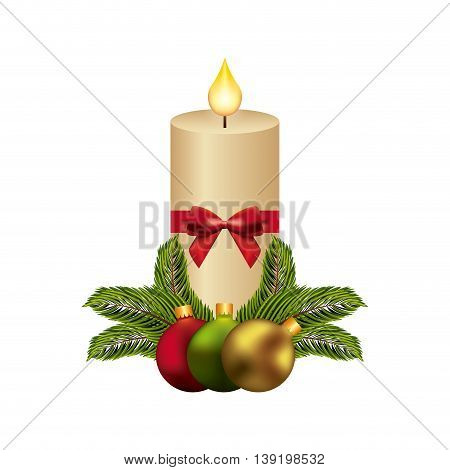 Merry Christmas concept represented by candle and spheres icon. Colorfull illustration.