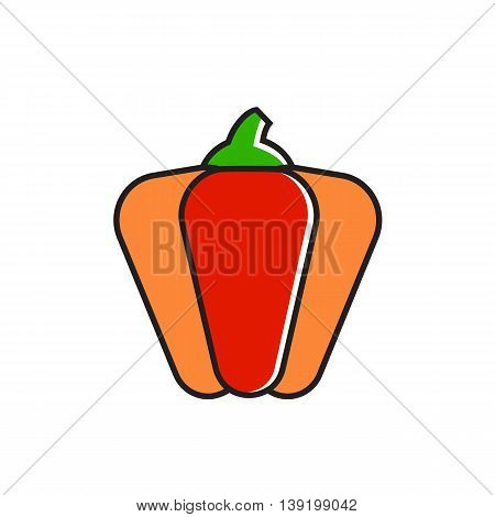 Illustration of paprika. Sweet pepper, bell pepper, vegetable, cooking. Food concept. Can be used for topics like food, cooking, vegetables