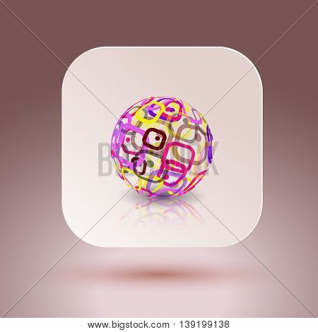 Abstract globe made from retro rectangles. Conceptual Technology Logo. Vector illustration