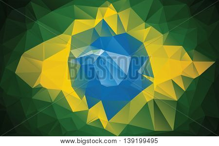 Brazilian flag made from polygons. Vector illustration in color, orange, yellow, blue and green colors