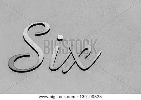 Number six sign metal plate decor black and white.