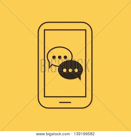 Modern vector mobile, dialog, chat with two speech bubbles linear icon, illustration.