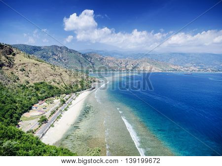 cristo rei landmark tropical beach landscape view near dili east timor