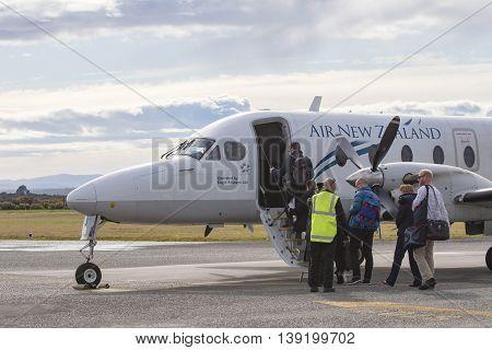 HOKITIKA NEWE ZEALAND-SEPTEMBER 3 : air new zealand plane preparing to departure from hokitika airport in south island new zealand on september 3 2015 in hokitika airport west coast New Zealand