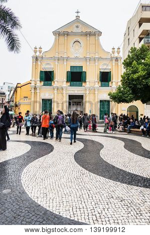 Senado, Macau - February 3, 2015: St. Dominic's Church is a late 16th century Baroque-style church that serves within the Cathedral Parish of the Roman Catholic Diocese of Macau