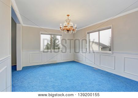 Empty luxury room interior with blue carpet floor and beautiful chandelier