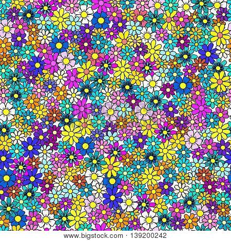 Field Of Flowers Seamless Pattern