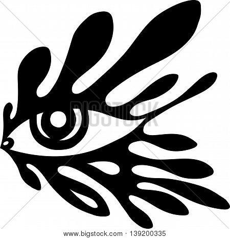 Splash tattoo styled eye black and white illustration