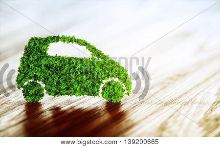 Green autonomous vehicle on wooden floor. 3D illustration.
