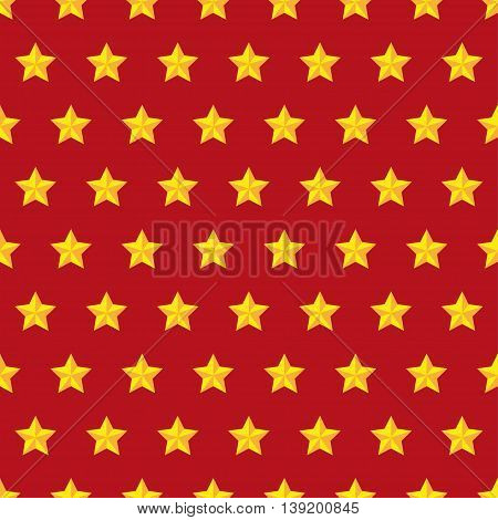Golden star seamless pattern on a red background