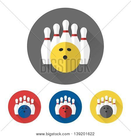 Flat bowling ball and skittles icons set vector
