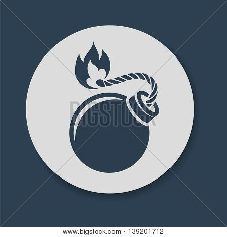 Flat bomb with lit fuse and fire icon vector