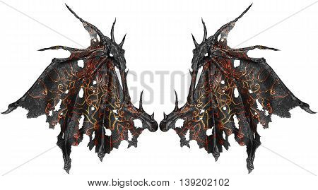 Dragon wings isolated on white background. Close up.