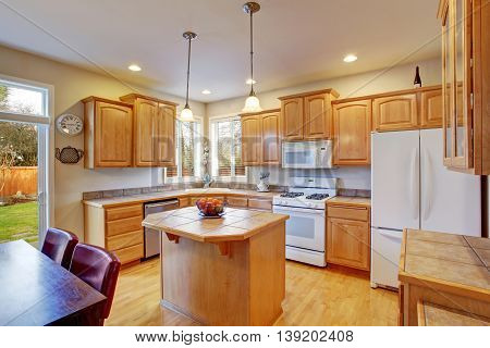 Classic Kitchen Room Interior With Brown Cabinets