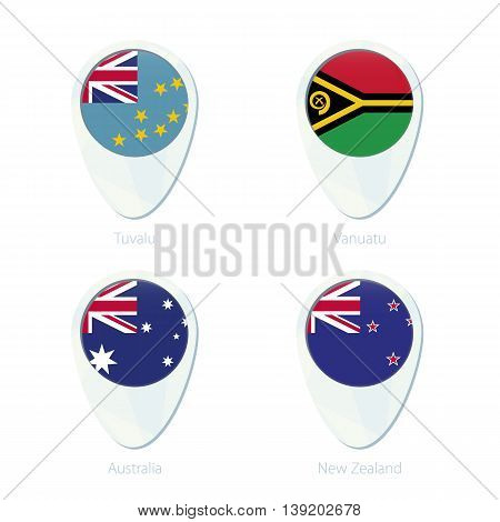 Tuvalu, Vanuatu, Australia, New Zealand Flag Location Map Pin Icon.