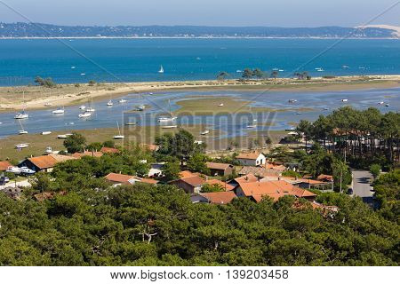 Bassin d'Arcachon landscape at low tide, view from the Cap-Ferret lighthouse, France