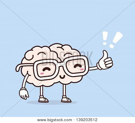 Vector illustration of retro pastel color smile pink brain with glasses and thumb up on blue background. Creative cartoon brain concept. Doodle style. Thin line art flat design of character brain for brainstorm science training education theme