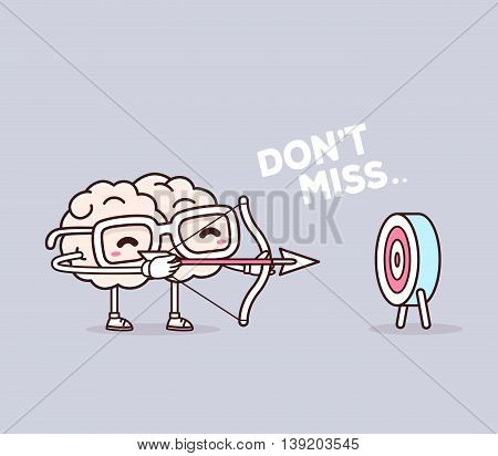 Vector illustration of retro pastel color smile pink brain with glasses shooting arrows on gray background. Creative cartoon brain concept. Doodle style. Thin line art flat design of character brain for business target and planning theme