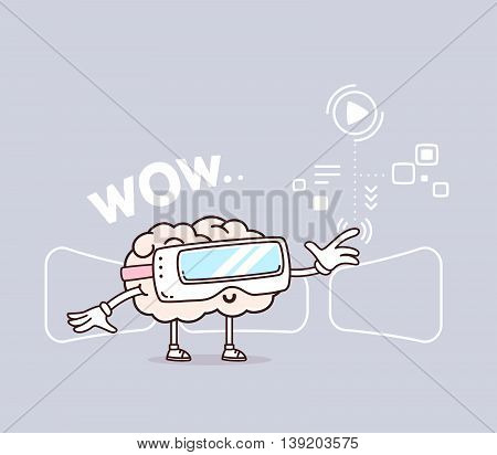 Vector illustration of retro pastel color smile pink brain with 3d virtual reality glasses on gray background. Creative cartoon brain concept. Doodle style. Thin line art flat design of character brain for 3d virtual reality theme