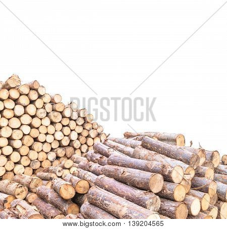 Closeup wood pattern at the pile of old wood timber isolated on white background