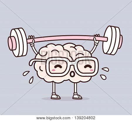 Vector illustration of retro pastel color pink brain with glasses lifting weights on gray background. Exercising cartoon brain concept. Doodle style. Thin line art flat design of character brain for sport training education theme