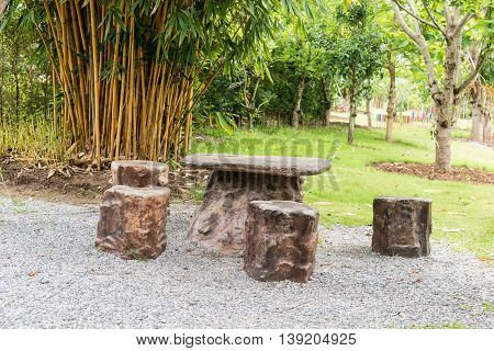 Stone Benches In Park.