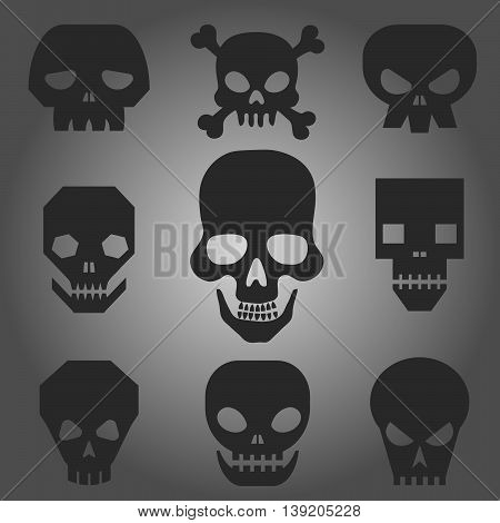 Vector illustration of skull pirate icon set