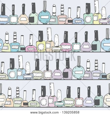 Seamless vector illustration with pastel nail polish bottles on horizontal shelves. Pattern hand drawn with imperfections. Good for beauty shops or nail shop. Closed bottles an grey background