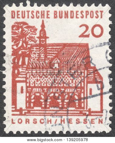 MOSCOW RUSSIA - JANUARY 2016: a post stamp printed in GERMANY shows Monastery Gate Lorsch the series