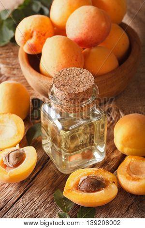 Apricot Kernel Oil In A Glass Jar Closeup. Vertical