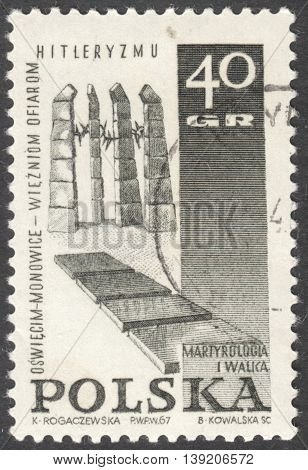 MOSCOW RUSSIA - CIRCA JANUARY 2016: a post stamp printed in POLAND shows a monument the series