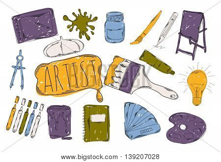 Colourful childrens illustration with a pencil. The collection of linear hand drawn icons. Icons the tools of the artist. Gallery of the artist. Vector illustration