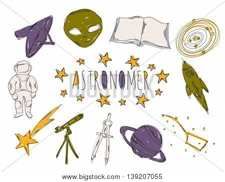 Colourful childrens illustration with a pencil. The collection of linear hand drawn icons. Icons tools of the astronomer. Vector illustration
