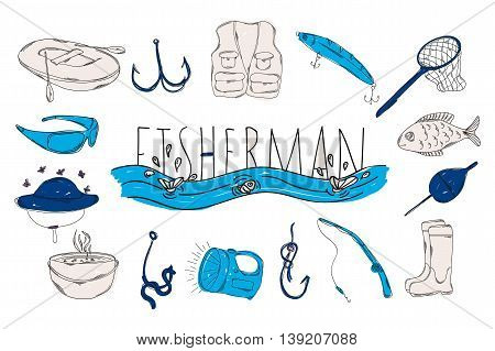 Colourful childrens illustration with a pencil. The collection of linear hand drawn icons. Icons the tools of a fisherman. Vector illustration