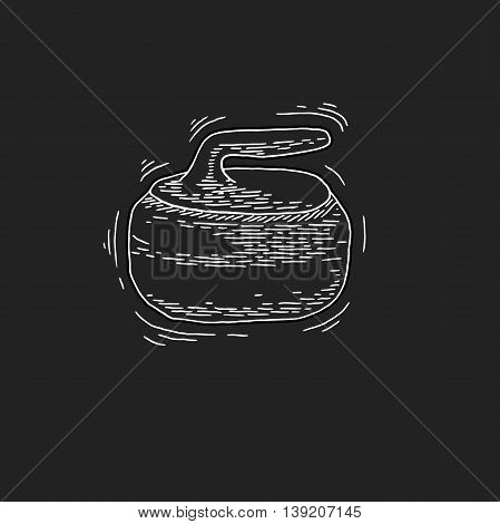 Curling game element. Winter Sport. Hand Drawing of Curling Rocks. Stone for curling. Curling sport equipment vector sketch. Curling Rockson on chalkboard