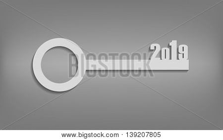 Illustration-white key with numbers on New Year 2019. Concept of the beginning year.