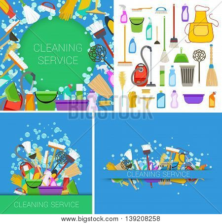 set of cleaning service supplies backgrounds. vector