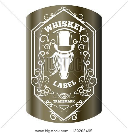 Whiskey label and elements on white. Horse head on alcohol sticker. Vector illustration