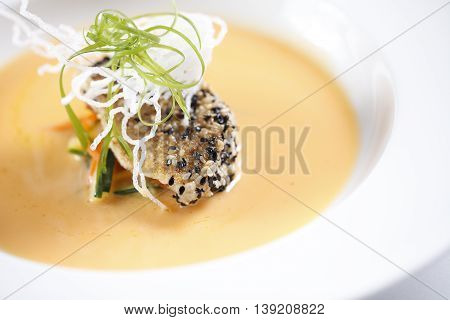 Soup of seasame cake in Chinese style in asia