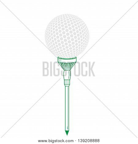 Golf ball on tee realistic vector illustration. Vector golf ball isolated on white. Golf tee of Engraving style with ball. Colorful tee and golf ball