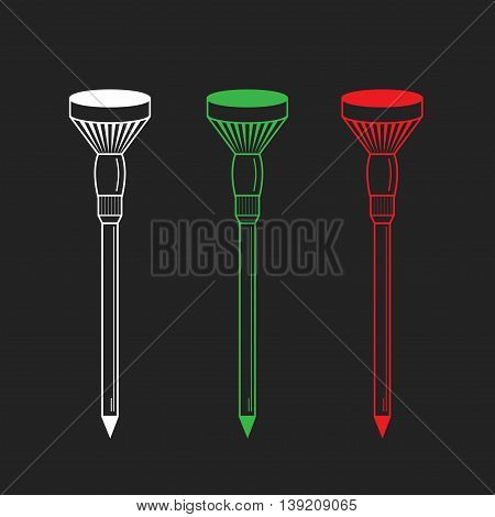 Golf tees. Vector. Golf tee illustration of engraving style. On black background