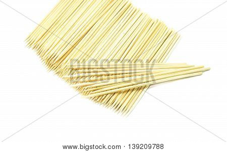 Bamboo wooden skewers on white background ,wooden stick