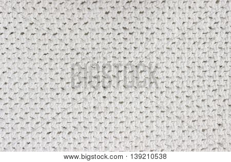 White crochet knitted backdrop background for Christmas or Valentine's day