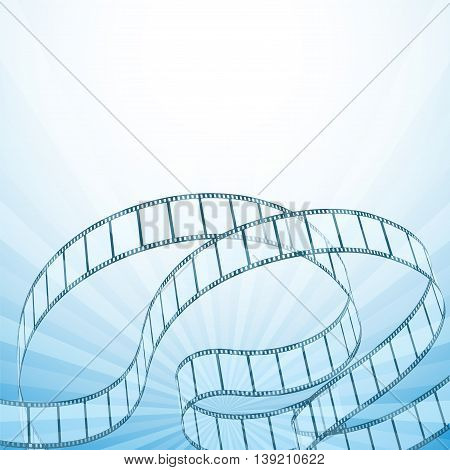 abstract cinema background with retro film strips rays. vector illustration