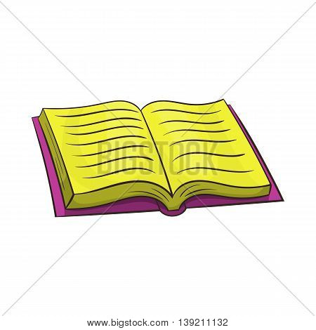 Open book icon in cartoon style on a white background