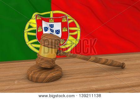 Portuguese Law Concept - Flag Of Portugal Behind Judge's Gavel 3D Illustration
