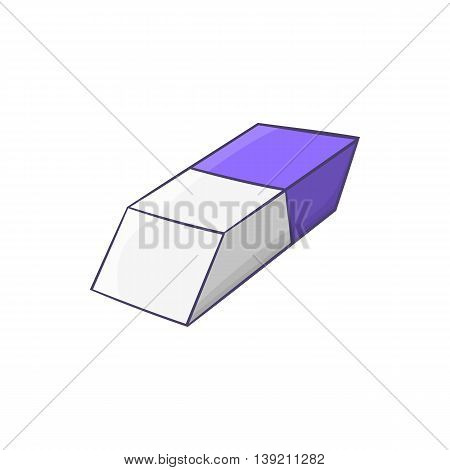Blue and white rubber pencil eraser icon in cartoon style on a white background
