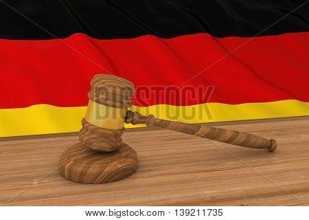 German Law Concept - Flag Of Germany Behind Judge's Gavel 3D Illustration